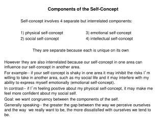 Components of the Self-Concept 	Self-concept involves 4 separate but interrelated components: