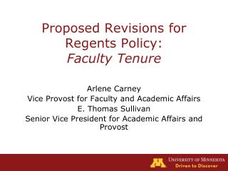 Proposed Revisions for Regents Policy: Faculty Tenure