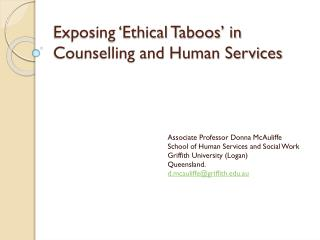 Exposing �Ethical Taboos� in Counselling and Human Services