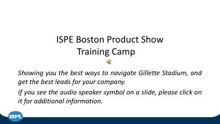 ISPE Boston Product Show Training Camp