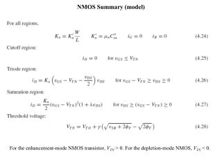 NMOS Summary (model)