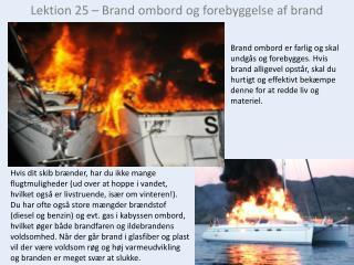 Lektion 25 – Brand ombord og forebyggelse af brand