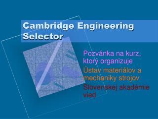 Cambridge Engineering Selector