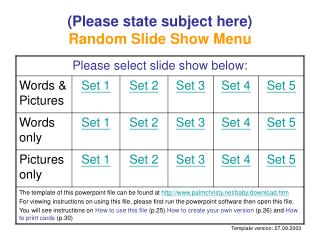 (Please state subject here) Random Slide Show Menu