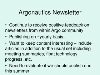 Argonautics  Newsletter
