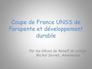 Coupe de France UNSS de Parapente et développement durable