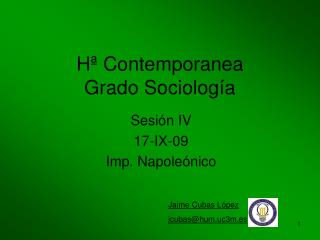 H� Contemporanea Grado Sociolog�a