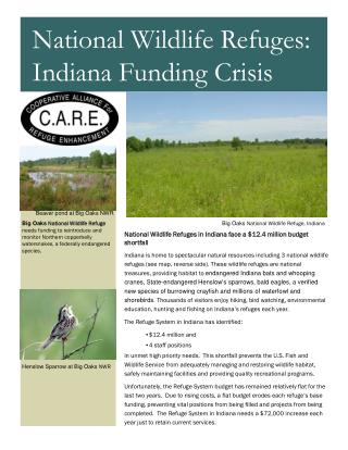 National Wildlife Refuges in Indiana face a $12.4 million budget shortfall