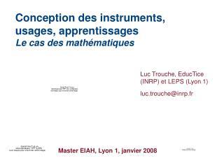 Master EIAH, Lyon 1, janvier 2008