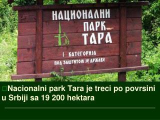 Nacionalni park Tara je treci po povrsini  u Srbiji sa 19 200 hektara