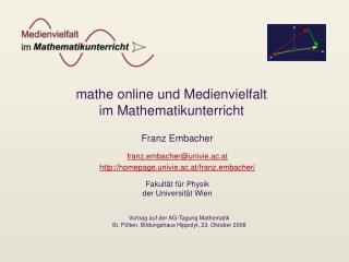 mathe online und Medienvielfalt im Mathematikunterricht