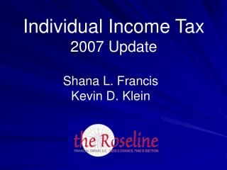 Individual Income Tax 2007 Update