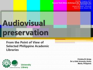 Audiovisual preservation