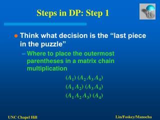 Steps in DP: Step 1