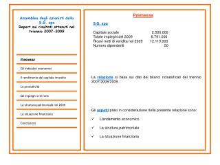 Assemblea degli azionisti della S.G. spa Report sui risultati ottenuti nel triennio 2007-2009