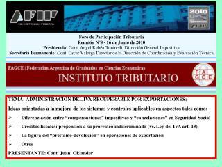 TEMA: ADMINISTRACIÓN DEL IVA RECUPERABLE POR EXPORTACIONES:
