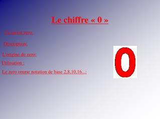 Le chiffre «0»