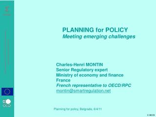 Charles-Henri MONTIN Senior Regulatory expert Ministry of economy and finance France