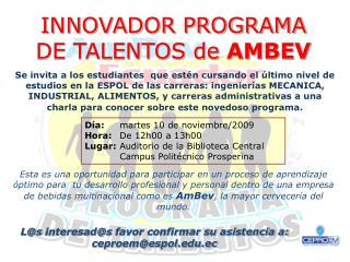 INNOVADOR PROGRAMA DE TALENTOS de  AMBEV