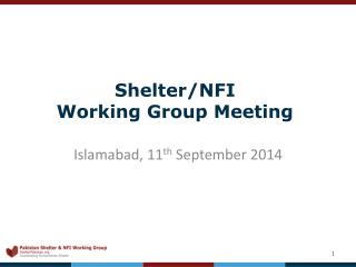 Shelter/NFI  Working Group Meeting