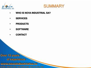 WHO IS NOVA INDUSTRIAL SA? SERVICES PRODUCTS SOFTWARE CONTACT