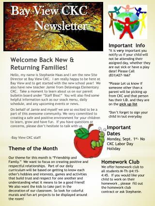 Bay View CKC Newsletter