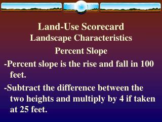 Land-Use Scorecard