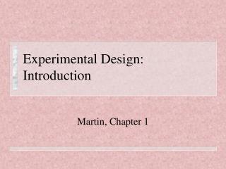 Experimental Design: Introduction