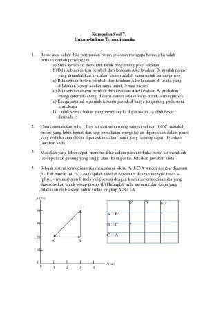 Kumpulan Soal 7. Hukum-hukum Termodinamika