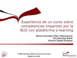 Experiencia de un curso sobre competencias impartido por la BUS con plataforma e-learning