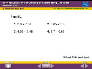 Solving Equations by Adding or Subtracting Decimals