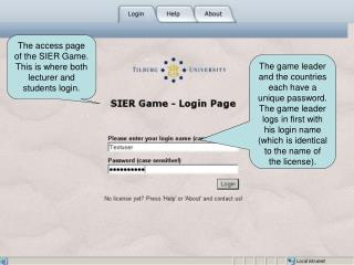 The access page of the SIER Game. This is where both lecturer and students login.