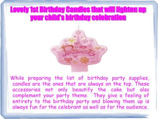 1st Birthday Candles