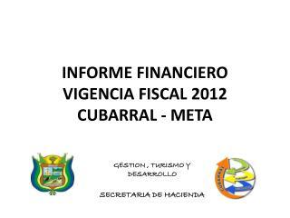 INFORME FINANCIERO VIGENCIA FISCAL 2012 CUBARRAL - META