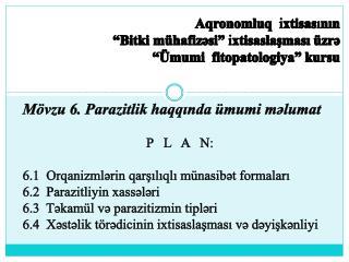 Aqronomluq  ixtisasinin   Bitki m hafizsi  ixtisaslasmasi  zr    mumi  fitopatologiya  kursu