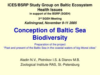 Conception of Baltic Sea Biodiversity