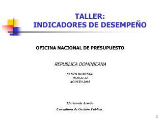 TALLER:  INDICADORES DE DESEMPEÑO