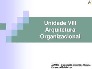 Unidade VIII          Arquitetura Organizacional