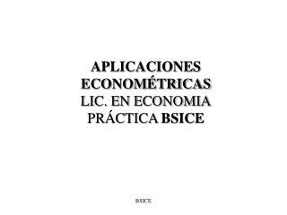 APLICACIONES ECONOMÉTRICAS LIC. EN ECONOMIA PRÁCTICA  BSICE