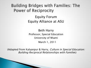 Building Bridges with Families: The Power of Reciprocity