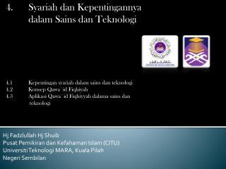 Hj Fadzlullah Hj Shuib Pusat Pemikiran dan Kefahaman Islam (CITU)