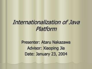 Internationalization of Java Platform