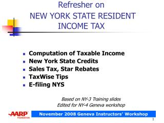 Refresher on  NEW YORK STATE RESIDENT INCOME TAX