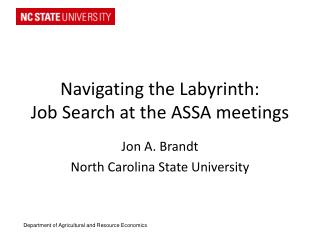Navigating the Labyrinth: Job Search at the ASSA meetings