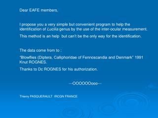 Dear EAFE members,