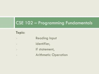 CSE 102 – Programming Fundamentals