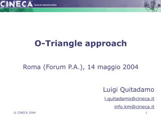 O-Triangle approach Roma (Forum P.A.), 14 maggio 2004 Luigi Quitadamo l.quitadamo@cineca.it