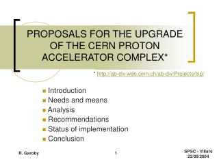 PROPOSALS FOR THE UPGRADE OF THE CERN PROTON ACCELERATOR COMPLEX*