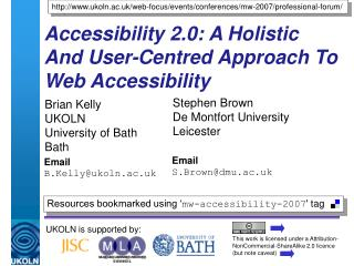 Accessibility 2.0: A Holistic And User-Centred Approach To Web Accessibility