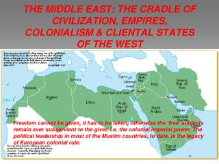 THE MIDDLE EAST: THE CRADLE OF CIVILIZATION, EMPIRES, COLONIALISM & CLIENTAL STATES OF THE WEST